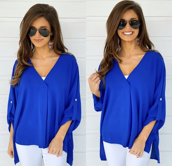 Something Real Royal Blue Top