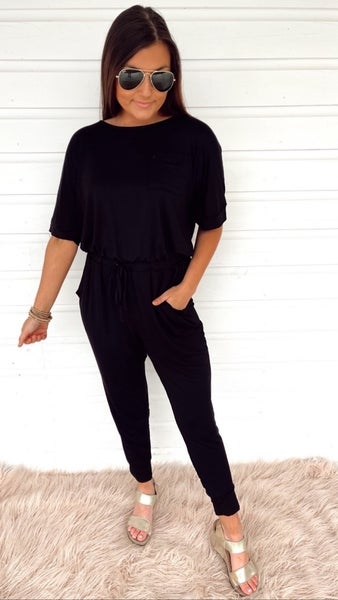 Stealing Hearts Black Jumpsuit