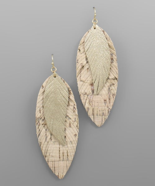 Cork & Ivory Leather Feather Earrings
