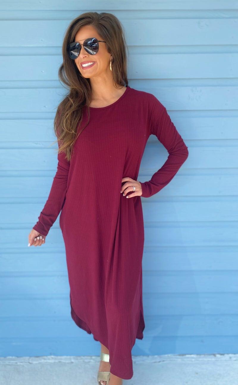 Burgundy Ribbed Dress *Final Sale*