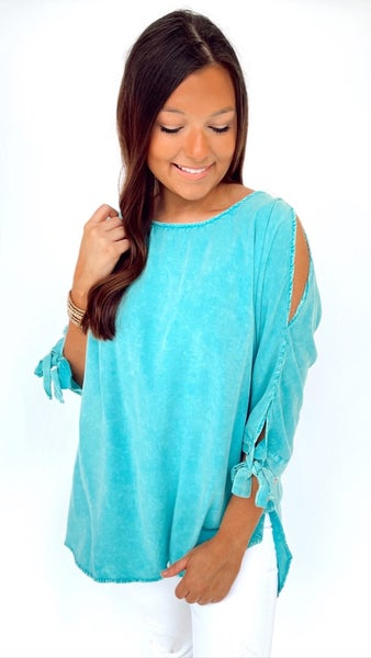 Washed Jade Open Shoulder Top