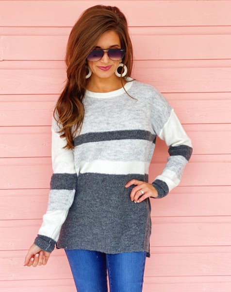 Millie Grey Striped Sweater