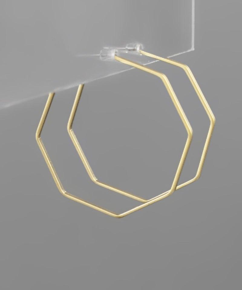 Octagon Gold Hoop Earrings