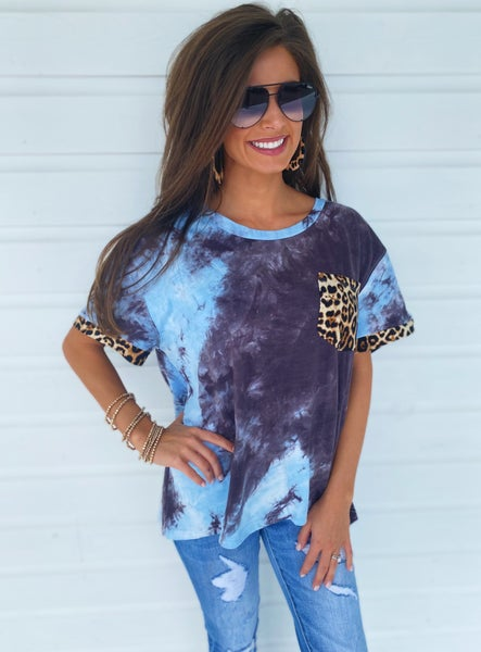 All You Want Tie Dye Top- Blue