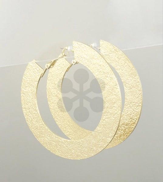 Gold Textured Flat Hoop Earrings