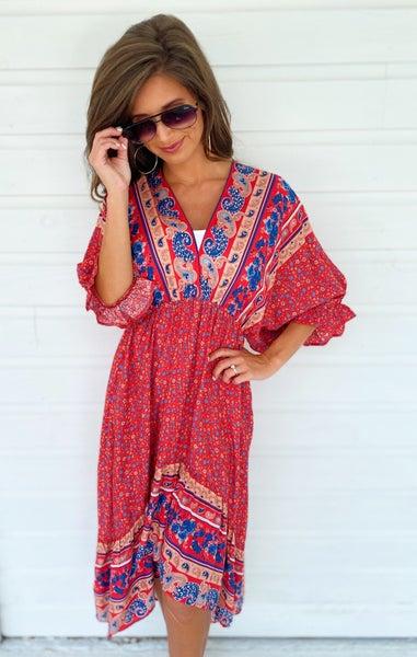 Maris Printed Dress- Red