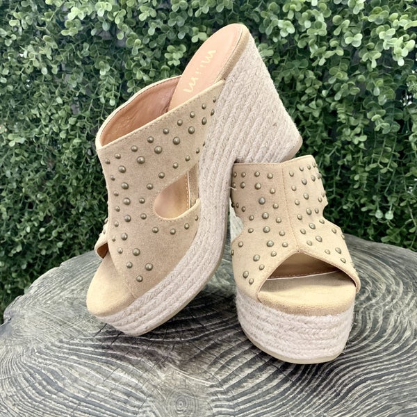 Studded Taupe Wedges