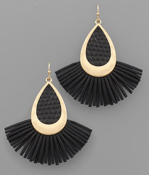 Black Beauty Leather Teardrop Earrings