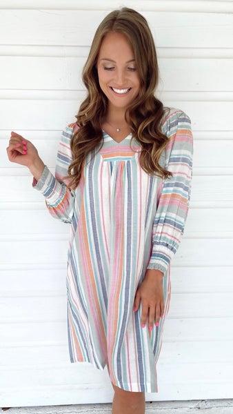Millie Mint Combo Striped Dress