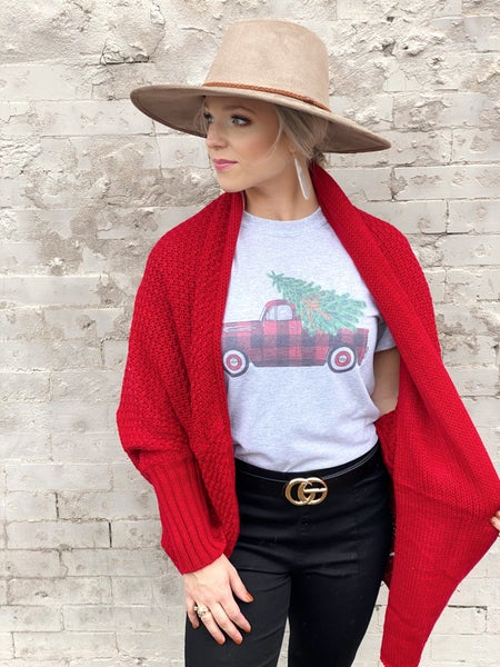 Ready to Go Red Cardigan