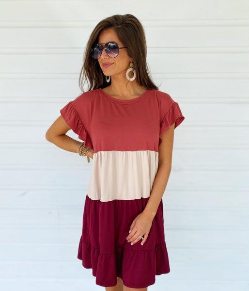 Bailey Burgundy Combo Dress