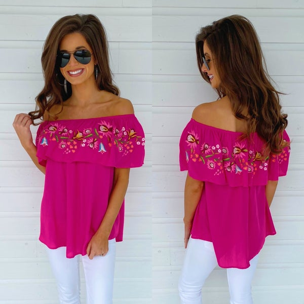 Summer Fun Embroidered Top- Raspberry