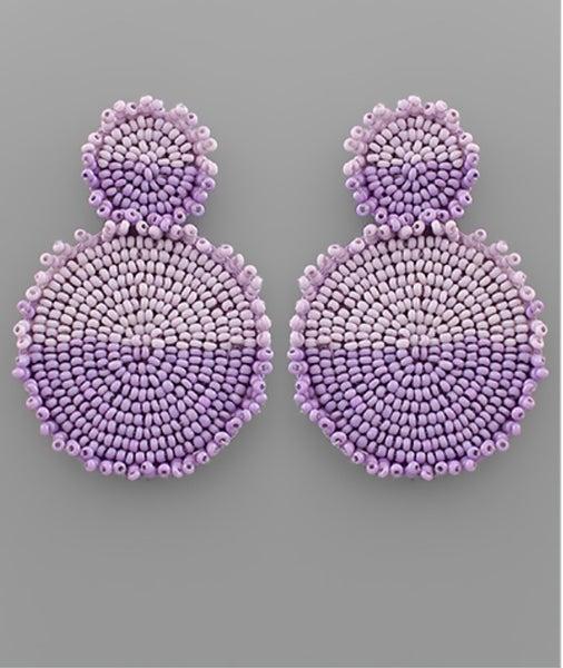 Crash My Party Beaded Earrings- purple