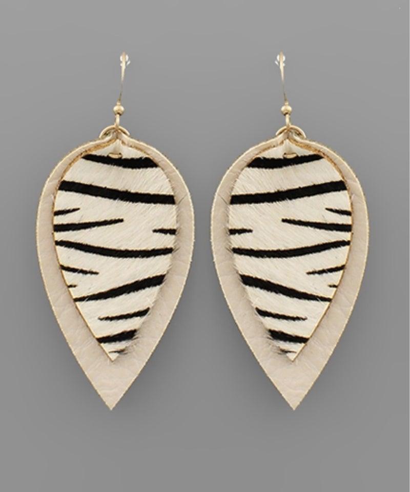 Zebra Leather Teardrop Earrings