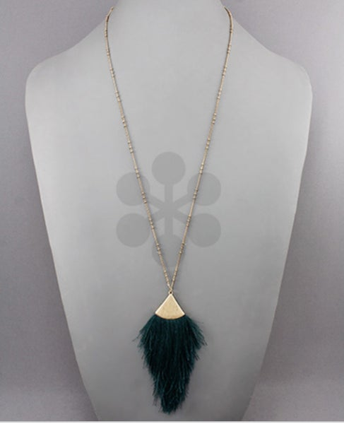 Teal Is In Tassel Necklace