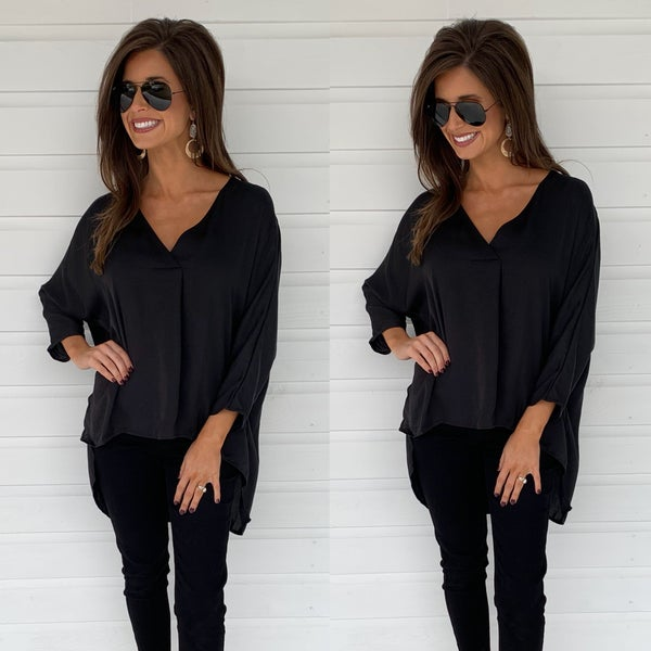 Wait For Me V-Neck Blouse- Black