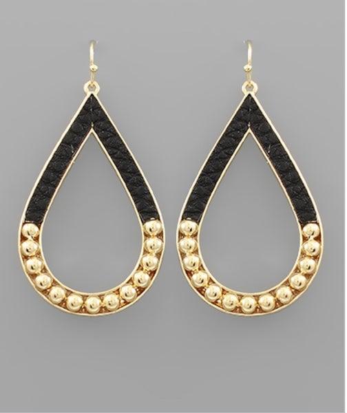 Black Leather & Gold Teardrop Earrings