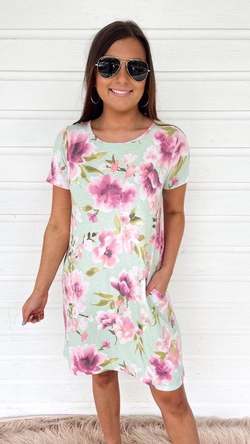 Marris Mint Floral Dress