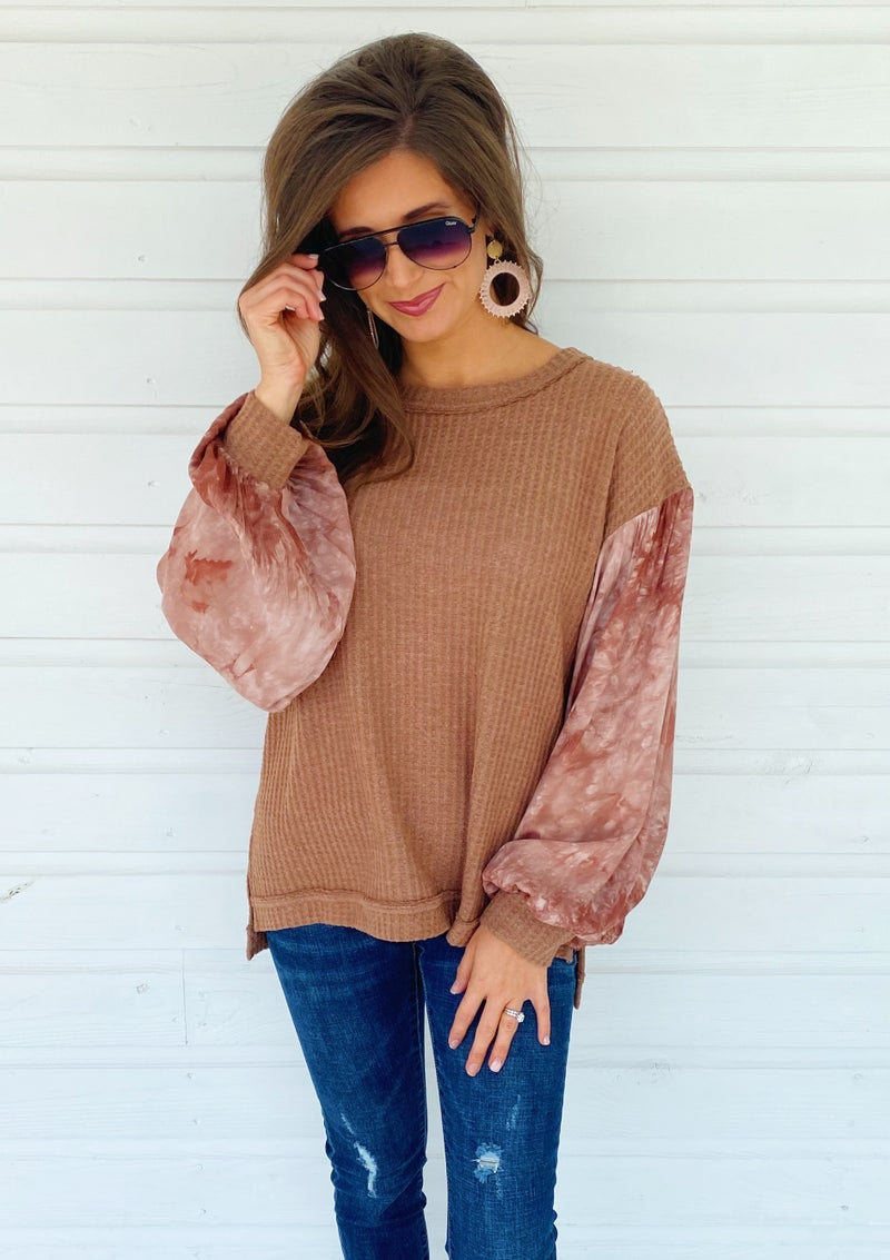 Taylor Taupe Tie Dye Top