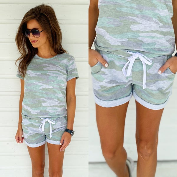 Cute & Casual Shorts- Olive Camo *Final Sale*