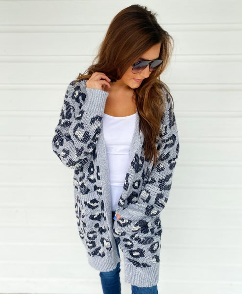 Lizzy Leopard Animal Print Cardigan- Grey