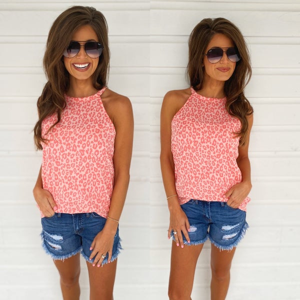 Getting To Know You Animal Print Top- Coral