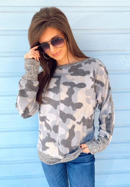 Can't Tell You No Camo Top