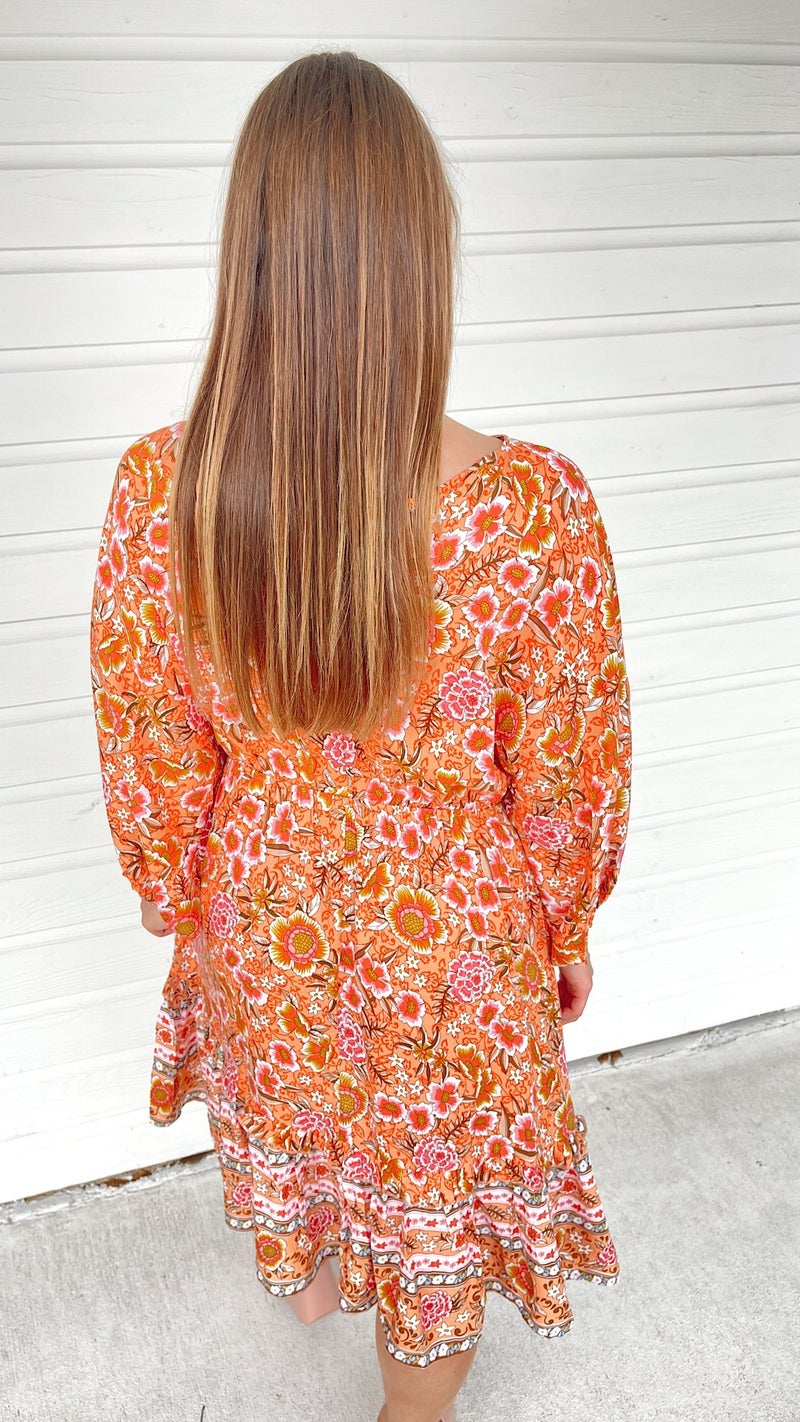 Here Comes The Sunset Printed Dress
