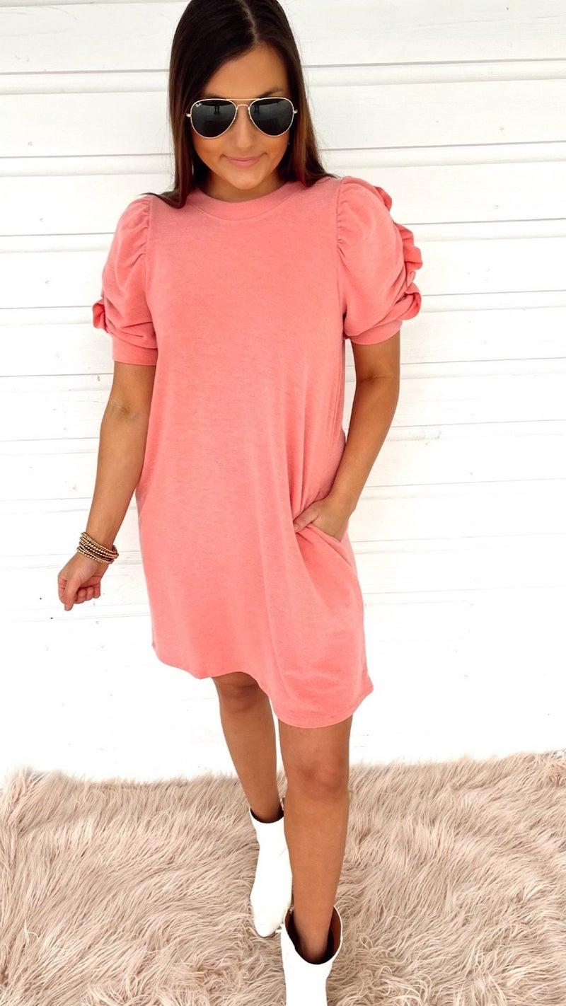 Coral Cruise Ruffle Sleeve Dress
