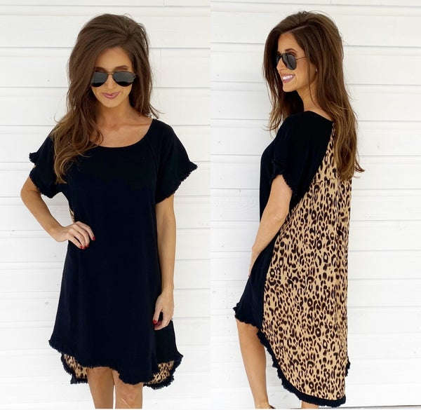Black & Leopard Frayed Hem Dress