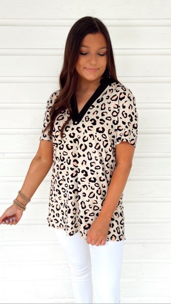 Talk of the Town Taupe Leopard Top