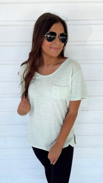 Sweet in Sage Pocket Top