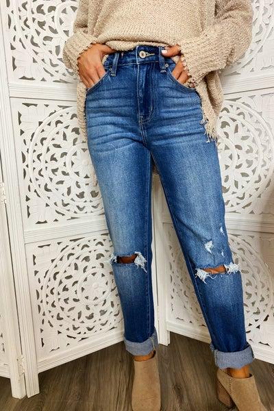 Boyfriend Cuffed Straight Jeans