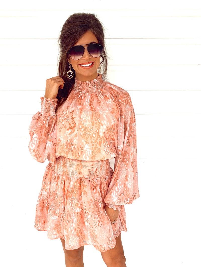 Peachy Pink Printed Dress