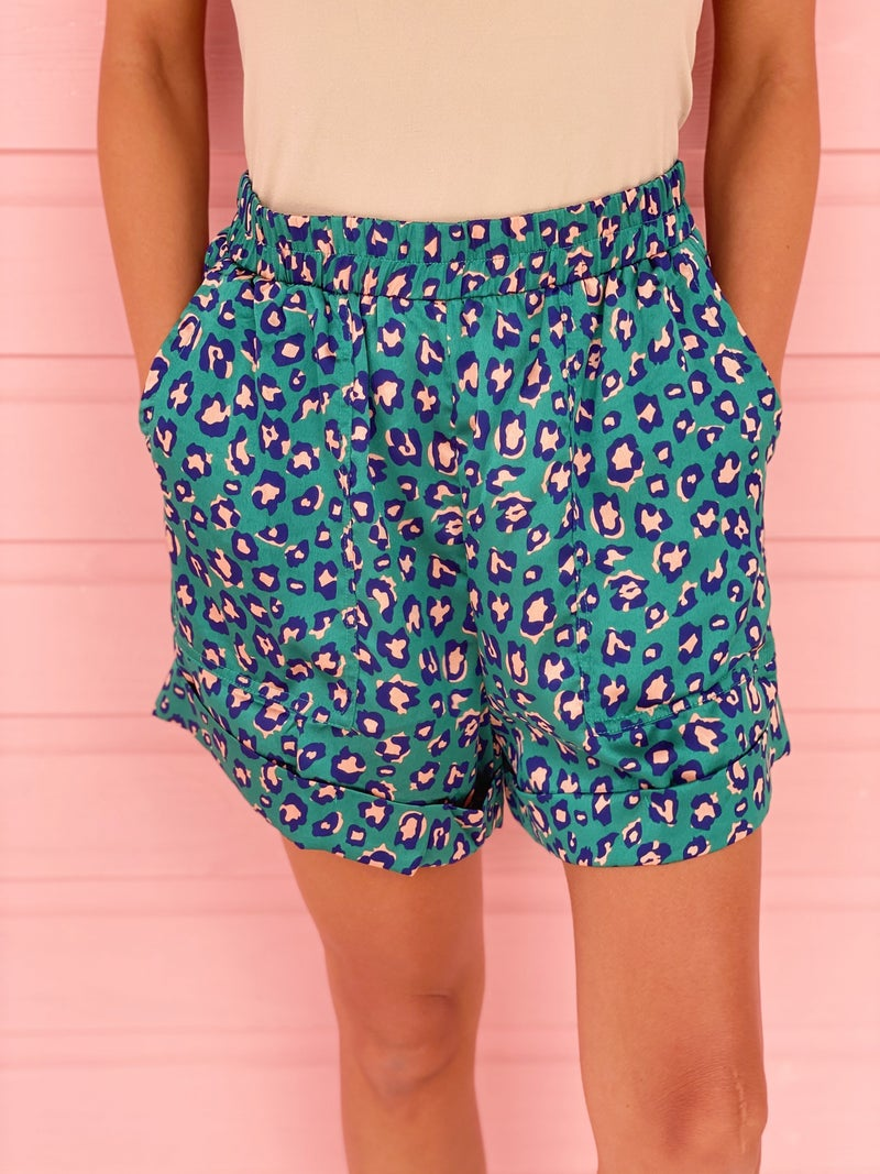Teal Leopard Shorts