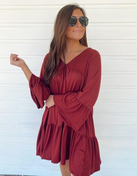 Whitney Wine Ruffle Dress