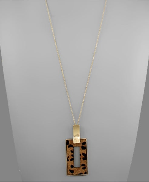 Leopard Cowhide Rectangle Necklace- Brown