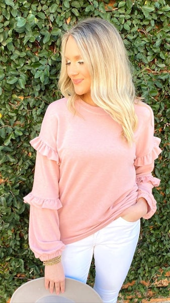 Blushing Over You Ruffle Sleeve Top