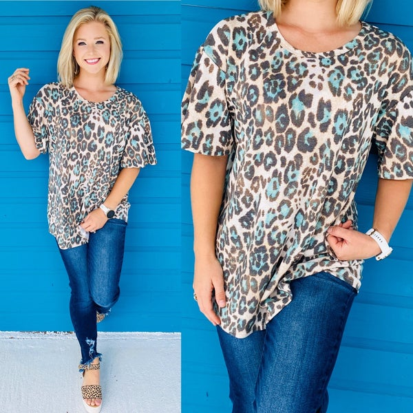 Mint As Can Be Leopard Top