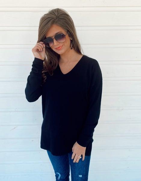 Ella Black V-Neck Sweater