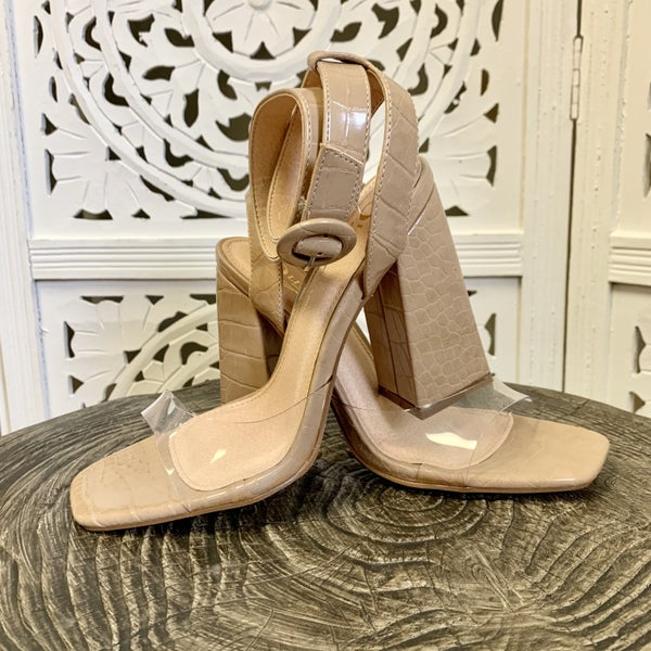 Addison Nude Ankle Wrap Heels
