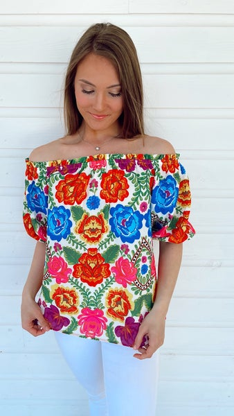 Poppy Paradise Floral Top- Ivory