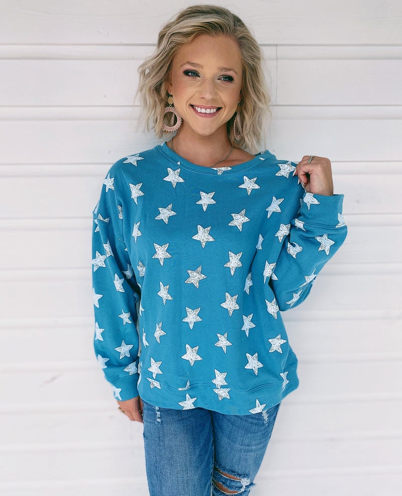 Stars In The City Pullover - Blue