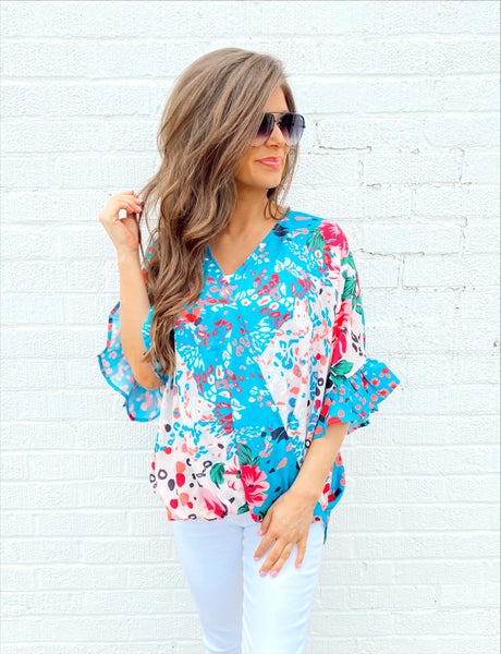 Blue Animal & Floral Print Top