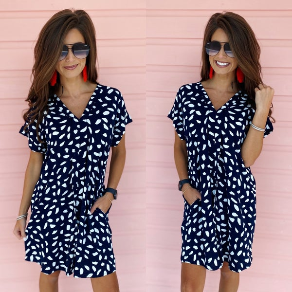 Now and Forever Navy Spotted Dress