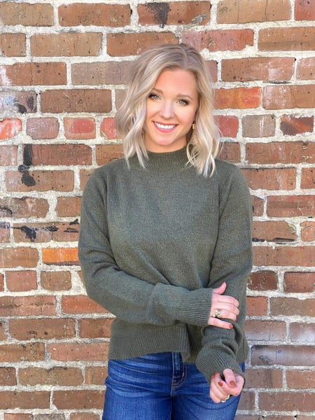 Out and About Olive Sweater