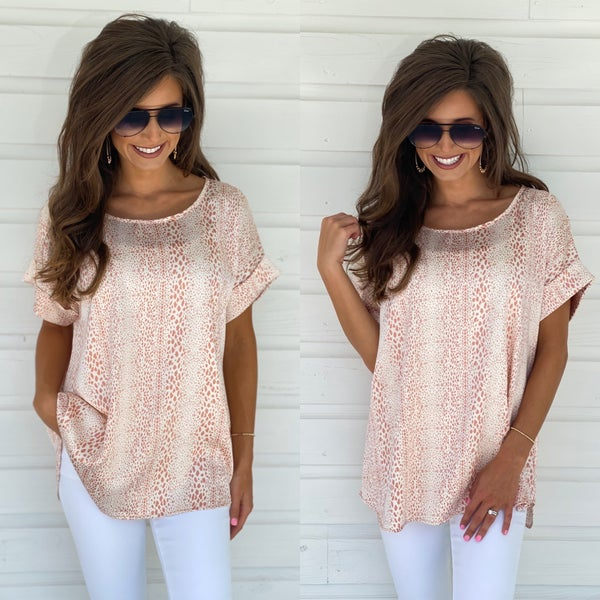 Here To Inspire Spotted Top- Coral