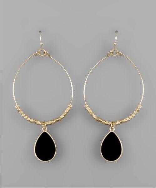 Tessa Teardrop Circle Earrings- Black