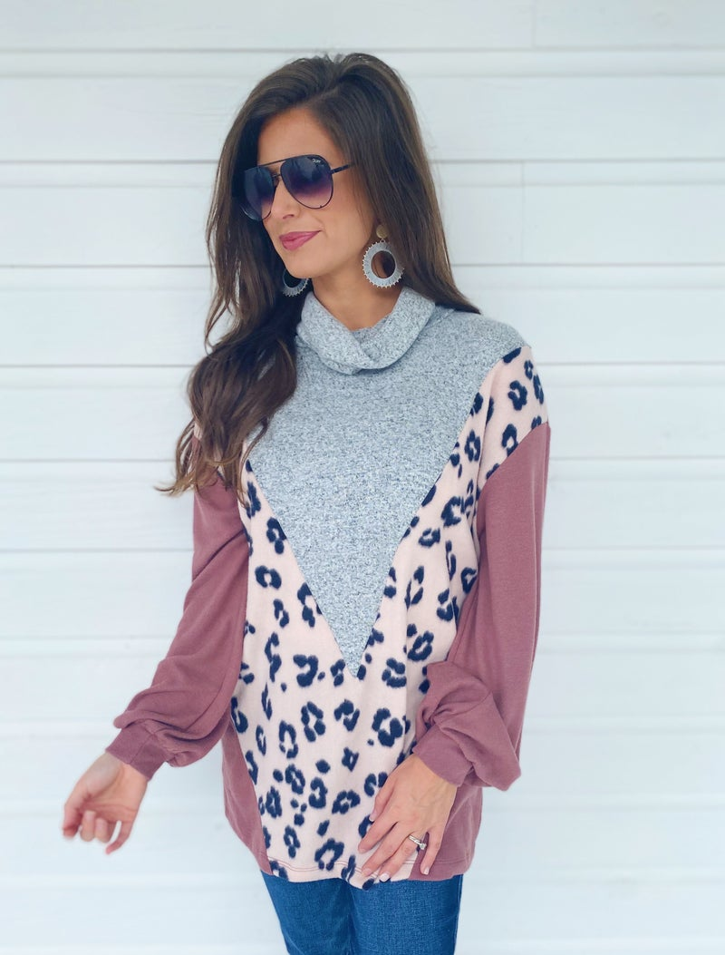 Grey & Light Pink Leopard Color Block Top