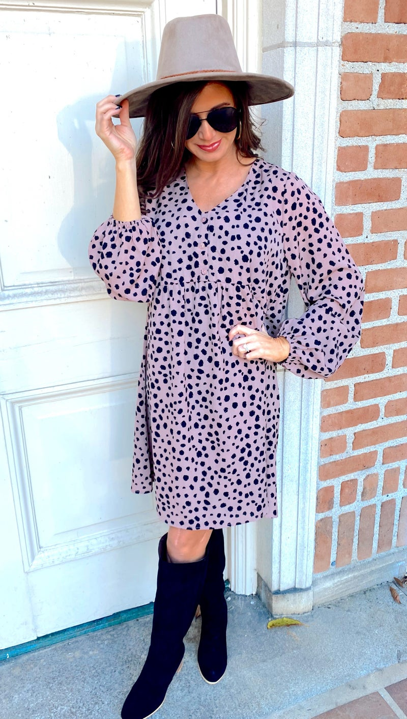 Daniella Dusty Rose and Spotted Dress